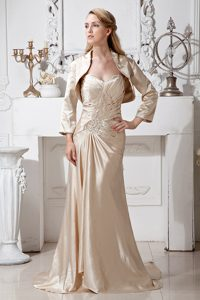 Champagne Sweetheart Brush Train Beaded Mother of Bride Dress with Jacket