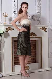 Strapless Knee-length Olive Green Mother Bride Dress with Appliques