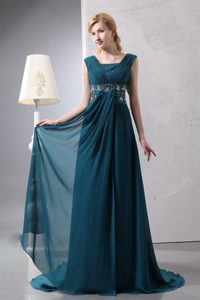 Square Straps Brush Train Ruched Dark Green Beaded Mother of Bride Dress