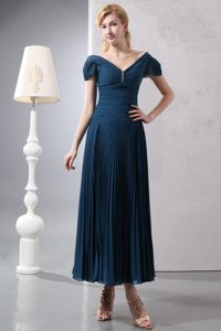 V-neck Ankle-length Navy Blue Ruched Mother of Bride Dresses with Pleats