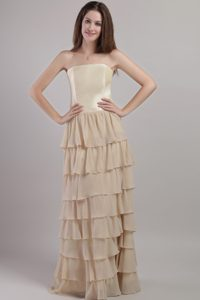 Strapless Long Champagne Layered Mother of Bride Dress with Jacket