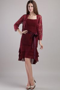 Spaghetti Straps Knee-length Burgundy Layered Mother Bride Dress with Jacket