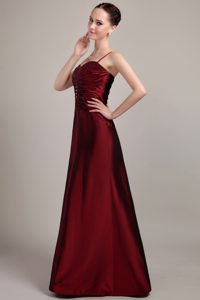 Spaghetti Straps Ruched Burgundy Mother of Bride Dress with Beading