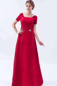 Scoop Short Sleeves Long Wine Red Mother Bride Dress with Beading