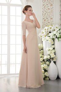 Champagne V-neck Half Sleeves Long Beaded Mother of Bride Dress