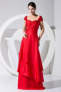 Hot Red Straps Brush Train Layered Ruched Best Mother of Bride Dress on Sale
