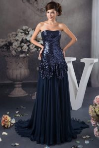 Navy Blue Strapless Brush Train Sequin and Chiffon Mother of Bride Dresses