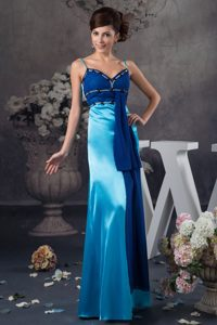 Spaghetti Straps Long Two-Toned Blue Mother Bride Dress with Beading