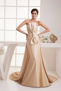 Strapless Brush Train Champagne Ruched Mother of Bride Dresses with Bow