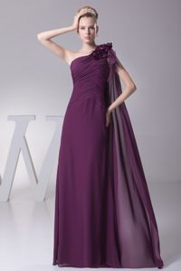 One Shoulder Long Ruched Purple Mother of Bride Dress with Flower