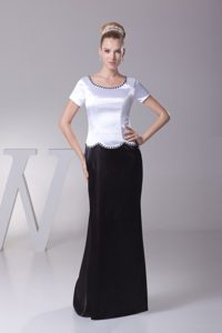 White and Black Scoop Short Sleeves Long Beaded Mother of Bride Dresses