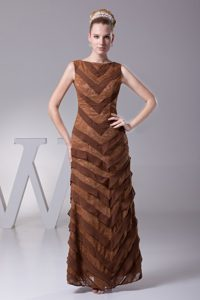 Bateau Long Brown Chiffon Best Mother of Bride Dresses with Layers