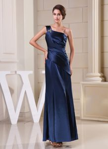 Navy Blue One Shoulder Mother of the Bride Dresses with Beading