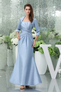 Beaded and Ruched Ankle-length Mother of the Bride Dresses in Baby Blue