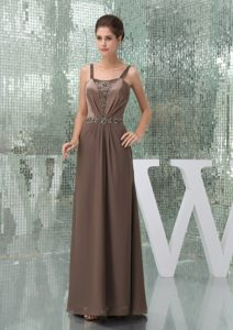 Charming Straps Brown Mother of the Bride Dresses with Beading and Ruches
