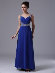 Royal Blue Ruched and Beaded Prom Court Dresses with Straps 2013