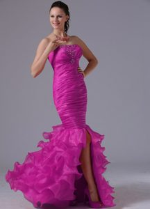 Mermaid Ruched and Beaded Prom Court Dress with Ruffles Layers in Fuchsia