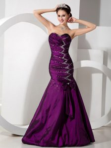 Popular Mermaid Fuchsia Prom Party Dress in with Beads and Bowknot