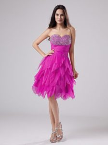 Sweetheart Prom Gown in Fuchsia with Beadings and Ruffles in the Mainstream