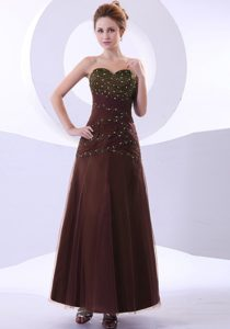 Ruched and Beaded Brown Prom Gowns with Ankle-length and Taffeta