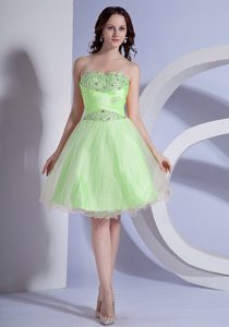 Cheap Sweetheart Beading Prom Dress with Knee-length in Spring Green on Sale