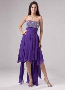 Lovely Purple Dress for Prom with Beads and Ruches on Promotion