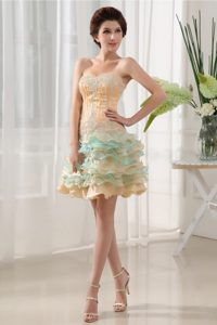 Sweetheart Beading Prom Gowns in Champagne and Aqua with Ruffled Layers