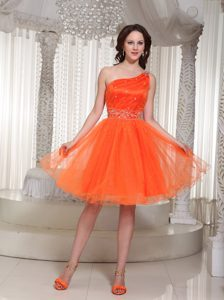 Orange Beading Prom Gowns with One Shoulder and Lace Up Back in Organza