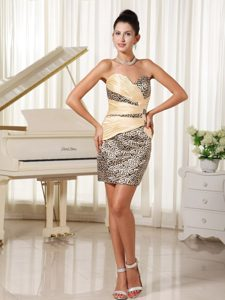 Sexy Sweetheart Ruching Prom Gown with Leopard in Mini-length on Promotion