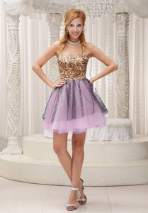 Lovely Leopard and Tulle Beaded Sweetheart Prom Cocktail Dress for Party on Sale