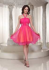 Hot Pink Halter Top Beaded Organza Prom Dress for Cocktail on Wholesale Price