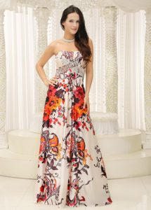 Colorful Strapless Prom Evening Dresses Beaded with Printing on Wholesale Price