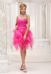 Hot Pink A-line Beaded Organza Prom Cocktail Dress with Ruffles for Custom Made