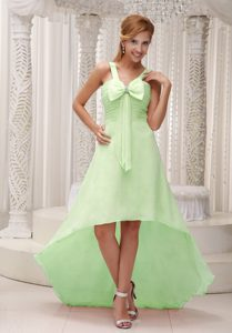 Light Green Beautiful High-low Prom Homecoming Dresses Ruched with Bowknot