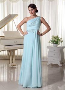 Light Blue One Shoulder Chiffon Beaded Prom Dress for Custom Made for Cheap
