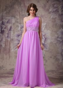 Empire One Shoulder Chiffon Ruched and Beaded Prom Dresses with Brush Train