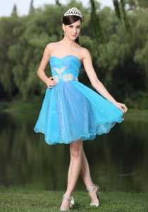 New Beaded Aqua Blue Organza Mini-length Prom Party Dress with Lace up Back
