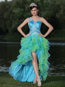 High-low Multicolor One Shoulder Beaded Prom Dress for Graduation with Ruffles