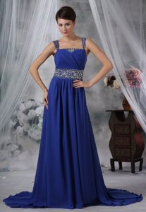 Beaded Straps Royal Blue Chiffon Prom Evening Dress with Brush Train for Cheap