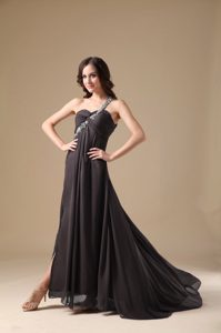 Simple Empire One Shoulder Chiffon Prom Dress for Party with Beading for Cheap