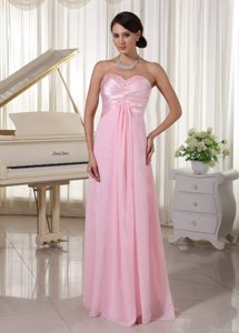 Baby Pink Sweetheart Beaded Prom Evening Dress with Chiffon and Satin in 2015