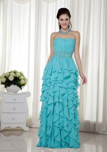 Blue Empire Strapless Chiffon Beaded Prom Pageant Dress with Ruffles for Cheap