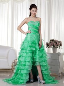New Green A-line Sweetheart Brush Train Organza Beaded Prom Evening Dresses