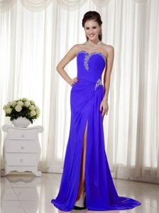 Sweetheart Chiffon Beaded Prom Dresses with Brush Train and High Slit