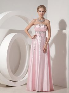 Elegant Pink Empire Strapless Elastic Woven Satin Beaded Prom Evening Dresses