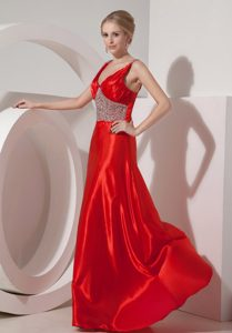 Popular Red A-line V-neck Silk Like Satin Beaded Prom Dresses with Brush Train