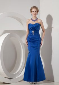 Pretty Royal Blue Mermaid Sweetheart Beaded Ankle-length Prom Evening Dress