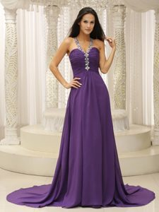 Purple V-neck Modest Dress with Beaded Shoulder and Ruched Bodice for Cheap
