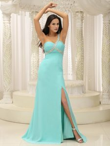 Beaded One Shoulder Ruched Prom Dress with High Slit for Custom Made in 2014
