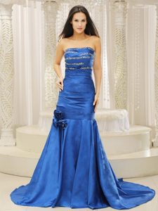 Mermaid Royal Blue Prom Dress Beaded and Court Train